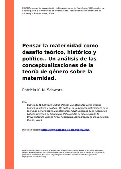 Pensar la maternidad como desafío teórico, h..