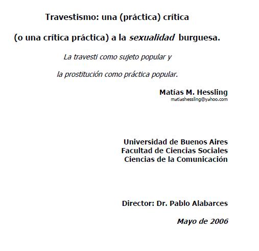 Travestismo: una (práctica) crítica (o una c..