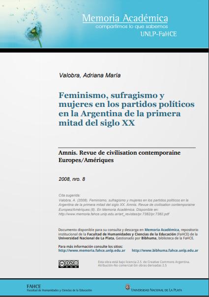 Feminismo, sufragismo y mujeres en los partido..