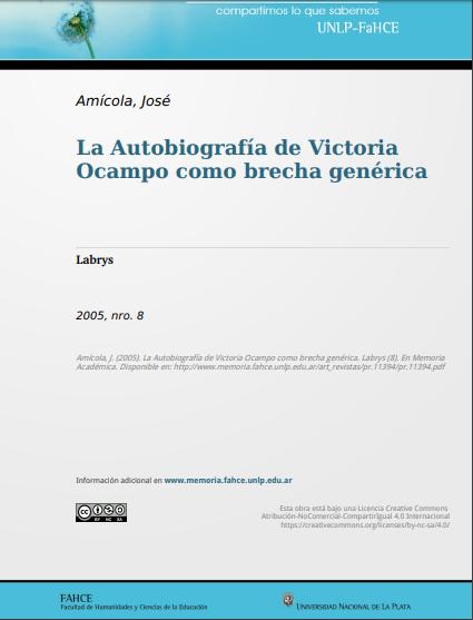 La Autobiografía de Victoria Ocampo como brec..
