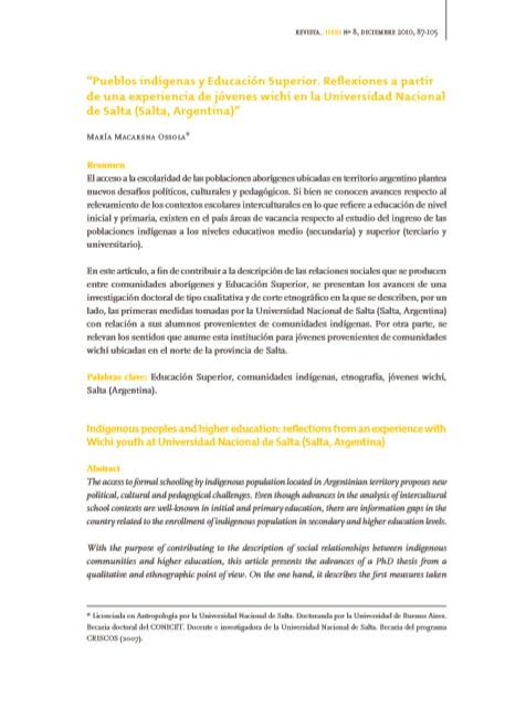 Pueblos indígenas y Educación Superior. Refl..