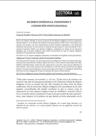Mujeres indígenas, feminismo y condición pos..