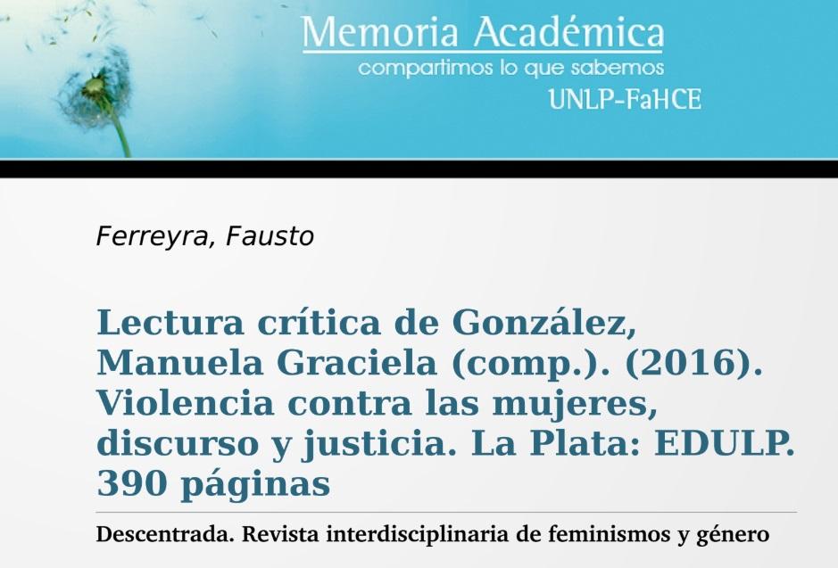 Lectura crítica de González, Manuela Graciel..